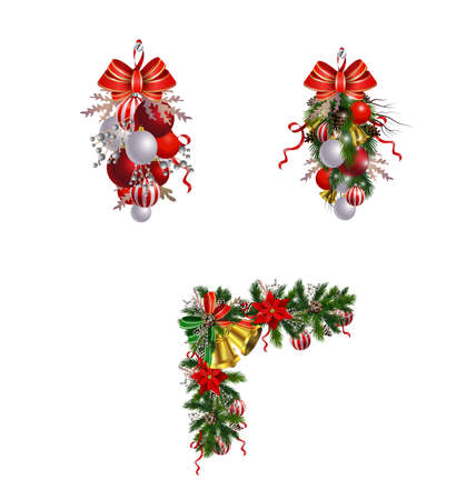 Christmas decoration set with evergreen treess pine cones and poinsettia isolated vector Vectores