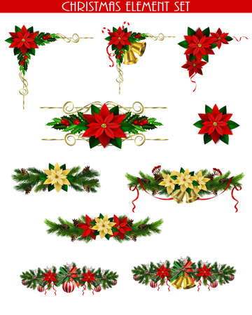 Christmas decoration set with evergreen treess pine cones and poinsettia isolated vector Vector Illustratie