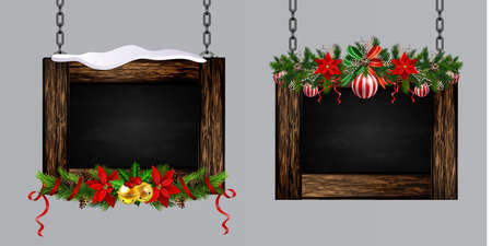 Vector realistic illustration of hanging wooden christmas board set with christmas tree and decorations