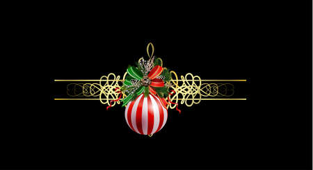Christmas golden decoration with evergreen treess holly forging and bells Vector Ilustração