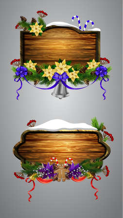Vector realistic illustration of wooden christmas board set with christmas tree and decorations