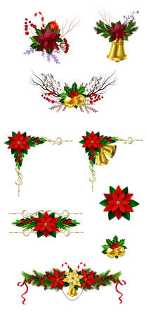 Christmas decoration set with evergreen treess pine cones and poinsettia isolated vector Ilustração