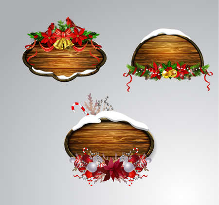 Vector realistic illustration of wooden christmas board set with christmas tree Cardinal bird and decorations