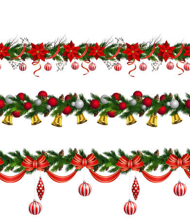 Christmas decoration collection with evergreen treess holly Vector seamless Stock Illustratie