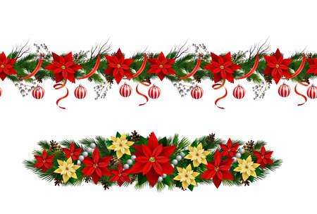Set of Seamless borders Bright Fun Christmas Winter Holidays Patterns Vector Illustration