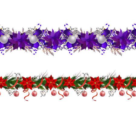 Set of Seamless borders Bright Fun Christmas Winter Holidays Patterns Vector Illusztráció