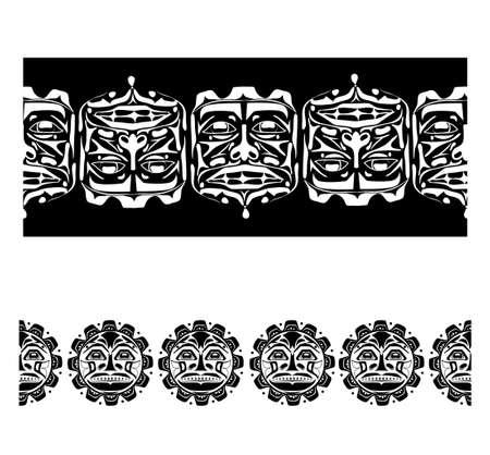 Vector illustration abstract native north american seamless pattern border set Vektoros illusztráció