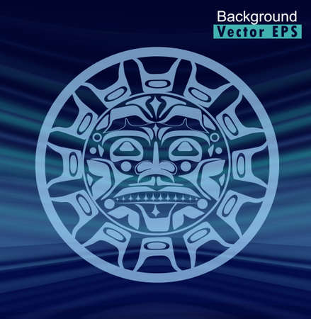 Ancient God Face vector illustration. South American Inca, Mayan, Aztec symbol of the Sunon stripe background