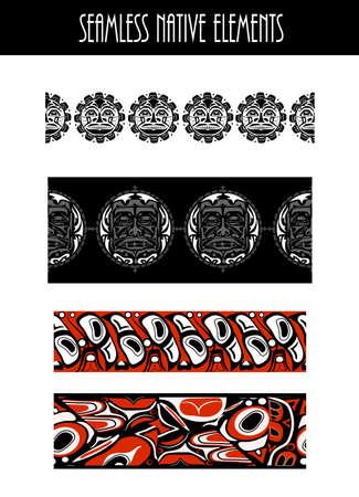 Vector illustration abstract native north american seamless pattern border set Vektorové ilustrace
