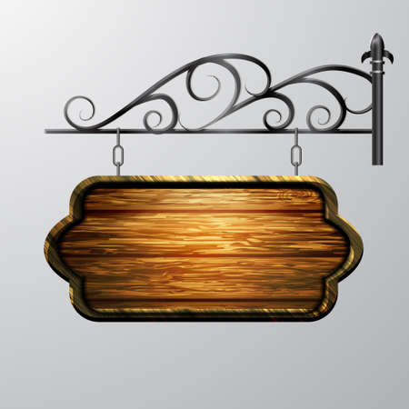 hanging, wooden Board with beautiful forging vector, wooden object for text. Stock Illustratie