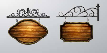 hanging, wooden Board set with beautiful forging vector, wooden object for text.