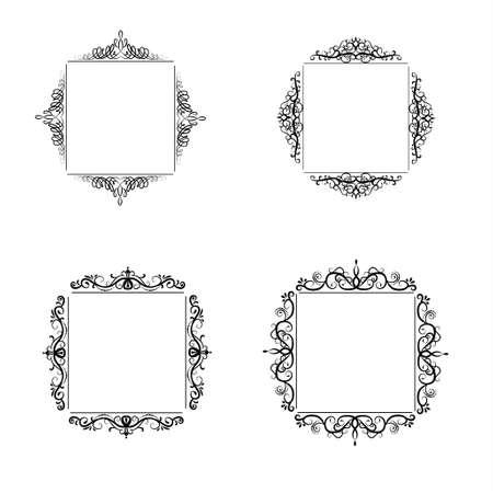 Vintage vector swirl square frame set black on white Illustration