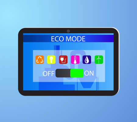 Eco friendly factory on a digital touch screen tablet