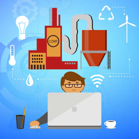 Eco friendly factory on a digital lap top with icons set on architecture and environmental care energy smart corporation