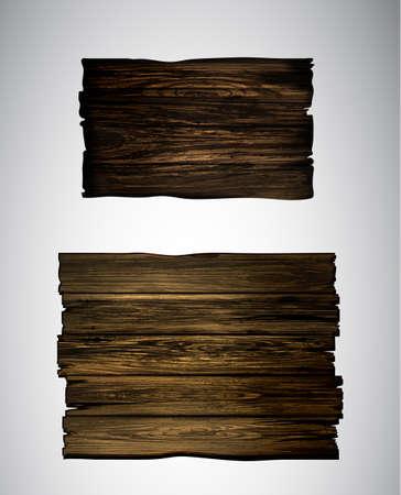 Holzschild, Plakette. Schaltfläche für Spiele oder Website. Holzzeiger zur Dekoration im Vintage-Stil. Vektor-Illustration Cartoon Gerstenkorn-Set