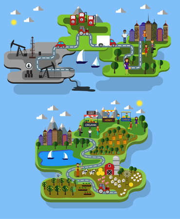 city farm and oil extraction concept vector flat infographic set 向量圖像