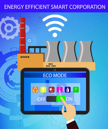 Eco friendly factory on a digital touch screen tablet with icons set on architecture and environmental care energy smart corporation Standard-Bild - 125506408