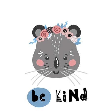 Cute cartoon little animal Childish print for nursery, kids apparel,poster, postcard. Vector Illustration Vektorgrafik