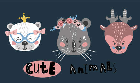Cute cartoon little animal set Childish print for nursery, kids apparel,poster, postcard. Vector Illustration