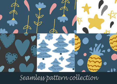 Floral seamless background set vector background vector
