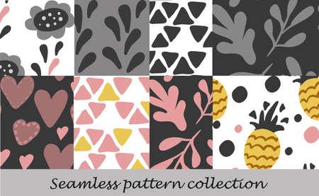 Floral seamless background set vector background. Stock Illustratie