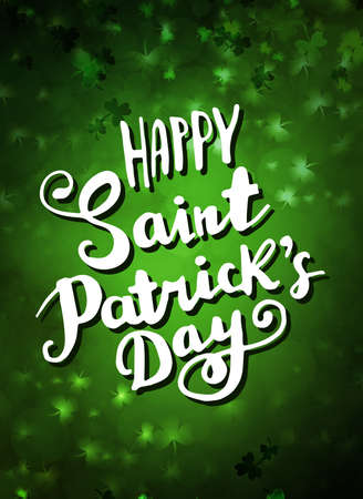 vector hand lettering saint patrick s day greetings text on green background vector