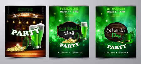 Irish holiday Saint Patrick s Day. Party poster, disco night placard Party invitation set vector