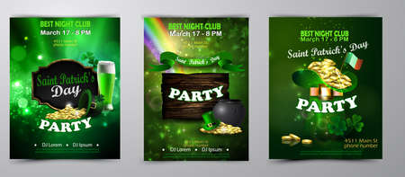 Vector St. Patrick s Day poster design template. party invitation set