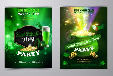 Irish holiday Saint Patrick s Day. Party poster, disco night placard Party invitation set vector