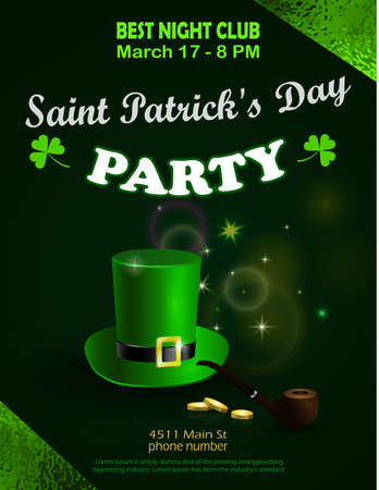 St. Patricks Day green party invitation poste
