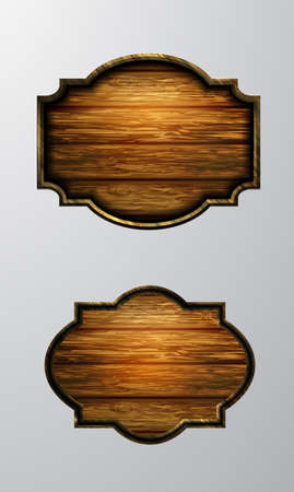 Vector realistic illustration of wooden signboard set isolated on white