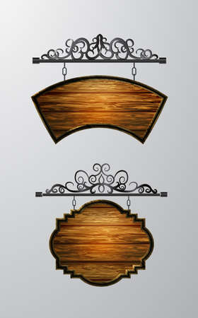 hanging, wooden Board vector, wooden object for text. Ilustrace