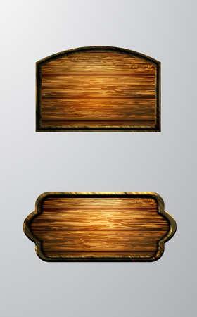 Realistyczna ilustracja wektorowa drewnianego szyldu na białym tle