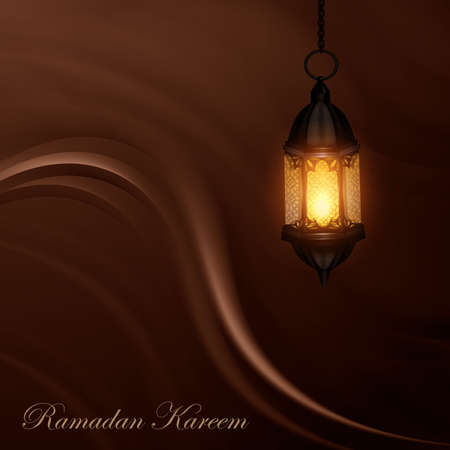 Sketchy style of EID Mubarak Lantern illustration with Ornament Ilustração
