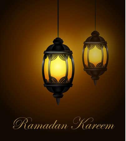 Ramadan Kareem Lanterns or Fanous in a Dark Glowing Background Vector Illustration