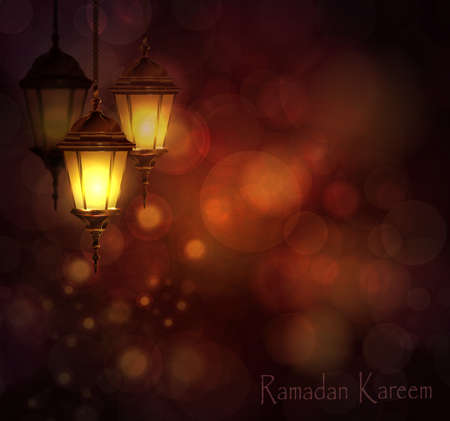 Intricate Arabic lamps with lights