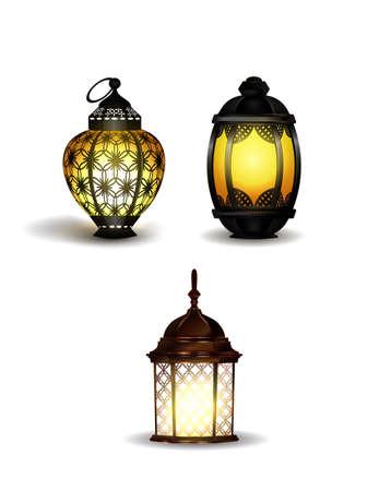 Ramadan Kareem realistic 3d lanterns