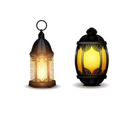 Old east lamp vector illustration pack set