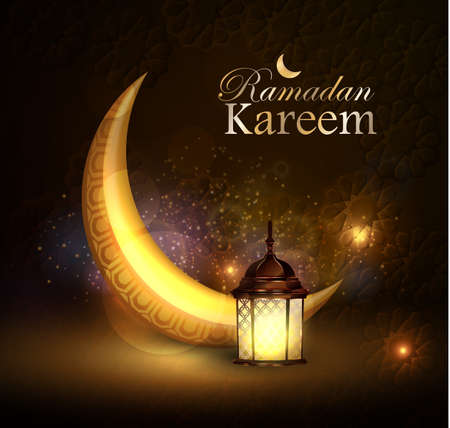 Ramadan greetings vector with moon and lantern Illustration