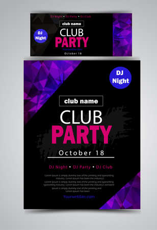 party flyer poster set Futuristic club flyer design template. DJ advertising, digital creative club entertainment. - Vector Ilustrace