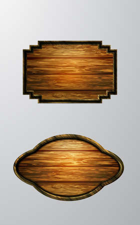 Vector realistic illustration of wooden signboard Çizim
