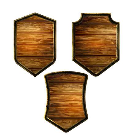 Vector realistic illustration of wooden signboard Standard-Bild - 129230355
