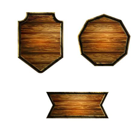 Vector realistic illustration of wooden signboard Standard-Bild - 129230357