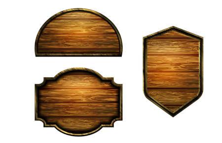 Vector realistic illustration of wooden signboard Standard-Bild - 129230362