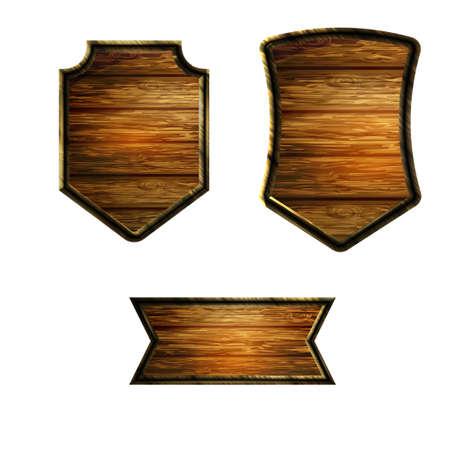 Vector realistic illustration of wooden signboard set isolated on white Standard-Bild - 129230363