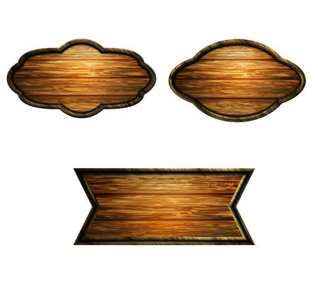 Vector realistic illustration of wooden signboard Banco de Imagens - 129230375