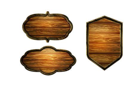 Vector realistic illustration of wooden signboard Standard-Bild - 129230368