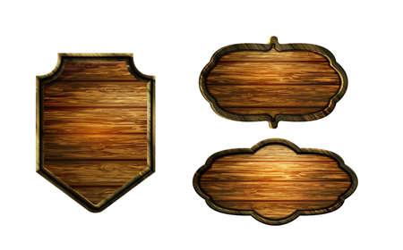 Vector realistic illustration of wooden signboard Banco de Imagens - 129230364