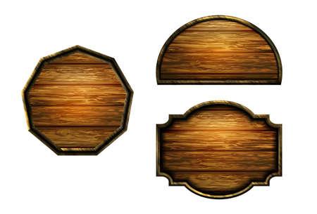 Vector realistic illustration of wooden signboard Standard-Bild - 129230366