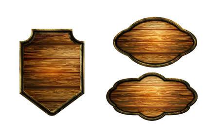 Vector realistic illustration of wooden signboard Standard-Bild - 129230369